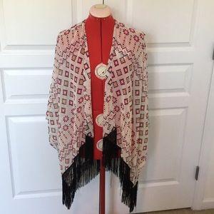 Aztec print fringe kimono